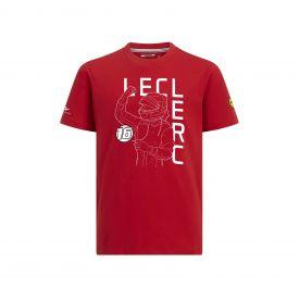 T-shirt FERRARI Charles Leclerc rouge pour enfant