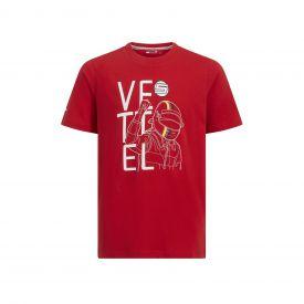 T-shirt FERRARI Sebastian Vettel rouge pour enfant