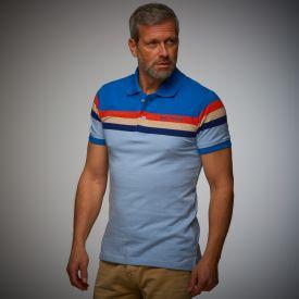 Polo GULF Retro stripes bleu pour homme