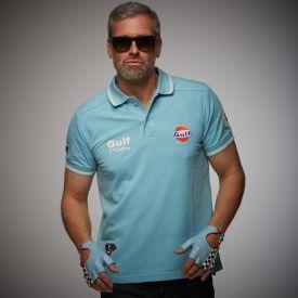 Polo GULF Vintage bleu clair pour homme