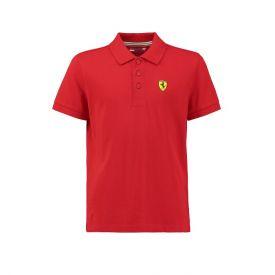 Polo FERRARI Classic rouge avec badge pour enfant