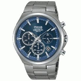 Montre PULSAR Sport Chrono solaire PZ5095X1 titane bleue