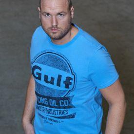 T-shirt GULF Oil Racing bleu clair pour homme